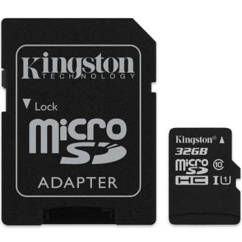 Cartão de Memória Kingston Canvas Select MicroSD 32GB Classe 10 com Adaptador - SDCS/32GB