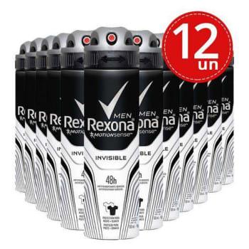 Desodorante Aerosol Rexona Invisible 90g/150ml - 12 Unidades
