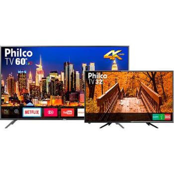 """Tv Ptv60f90dswns 4k Led Smart Com Netflix Tela 60 Polegadas Com Resolução Ultrahd 4k + Tv Led 32"""" Philco Com Resolução Hd E Recepção Digital- Ptv32b51"""