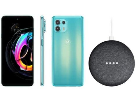 Smartphone Motorola Edge 20 Lite 128GB Verde - 5G 6GB RAM + Nest Mini 2ª geração Smart Speaker - Magazine Ofertaesperta
