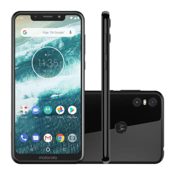 "Smartphone Motorola Moto One 64GB Black 4G Tela 5,9"" Câmera 13MP Selfie 8MP Dual Chip Android 8.1"