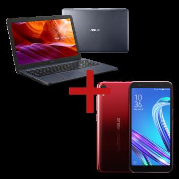 Notebook X543UA-GO2196T Cinza Escuro + ZenFone Live (L1) Quadcore Vermelho