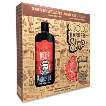 Kit QOD Barber Shop Shampoo de Cerveja 3 em 1 240ml + Pomada Capilar Killer 70g