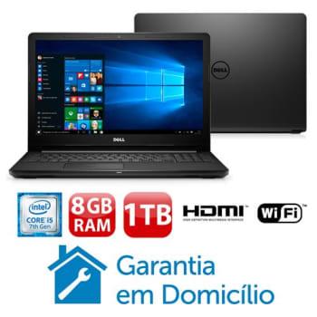 "4000b7275 Notebook Dell Core i5-7200U 8GB 1TB Tela 15.6"" Windows 10 Inspiron  I15-3567-A40P"