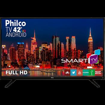"Smart TV LED 42"" Philco PH42F10DSGWA Full HD com Conversor Digital 2 HDMI 2 USB Wi-Fi Sleep timer 60Hz Preta"