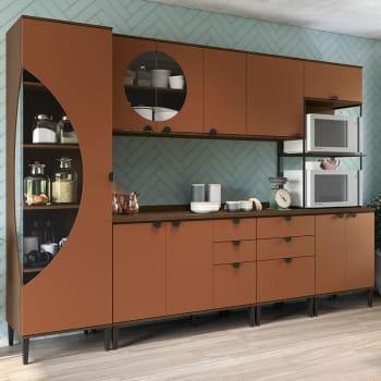 Cozinha Compacta 6 Peças POP CBPO004 – Kappesberg POP - Jacarandá / Terracota