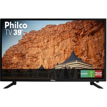 "TV LED 39"" Philco HD com Conversor Digital 3 HDMI 1 USB Som Surround 60Hz - Preta"