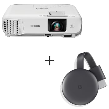 Projetor Epson PowerLite 3LCD Wi-fi HDMI S39 + Chromecast 3 Google TV HDMI GA00439-BR