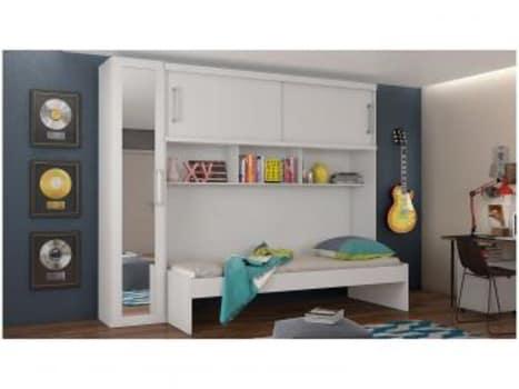 Guarda-roupa Solteiro MDF 3 Portas Europa - Valencia 12.029.163 com Espelho com Cama - Magazine Ofertaesperta