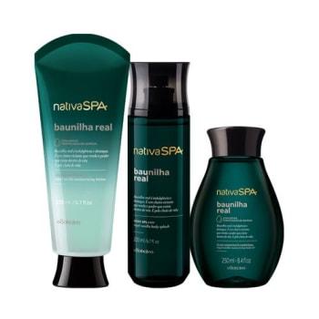 Combo Nativa SPA Baunilha Real: Loção Hidratante 200ml + Óleo Corporal 250ml + Body Splash 200ml