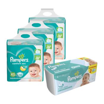 Fralda Pampers XG Confort Sec Super 174 UN + Lenço Umedecido Fresh Clean 96 UN