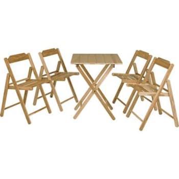 Conjunto com Mesa e 4 Cadeiras Tramontina Beer Teca Mogno