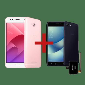 ZenFone 4 Selfie 4GB/64GB Rose Gold + Zenfone 4 Max 2GB/16GB com TV Preto