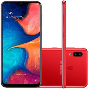 """Smartphone Samsung Galaxy A20 32GB 6.4"""" 3GB RAM Câmera Traseira Dupla 13MP 5MP Vermelho"""