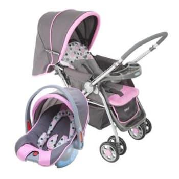 Carrinho com Bebê Conforto Travel System Reverse até 15kg Rosa Cosco