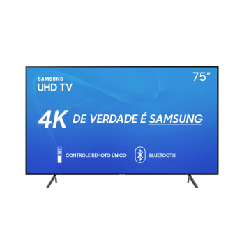"Smart TV LED 75"" Samsung RU7100 UN75RU7100GXZD Ultra HD 4K HDMI, USB, Wi-Fi Preta Conversor Digital Integrado"