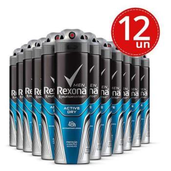 Desodorante Aerosol Rexona Masculino Active Dry 150ml 12 Unidades