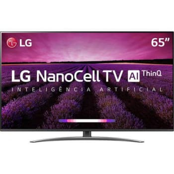 "Smart TV LED LG 65"" 65SM8100PSA Ultra HD 4K com Conversor Digital 4 HDMI 3 USB Wi-Fi Thinq Ai - Preta"