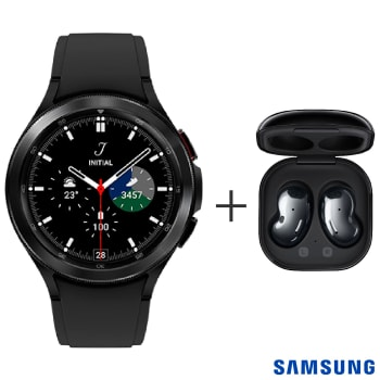 "Galaxy Watch4 Classic BT 46mm Samsung Preto com 1,4"" + Fone sem Fio Samsung Galaxy Buds Live Preto - SM-R180NZKAZTO"