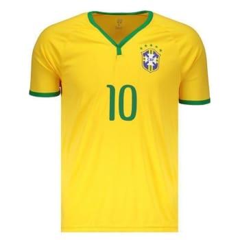 Camisa Brasil CBF 10 Neymar Jr Masculina - Amarelo