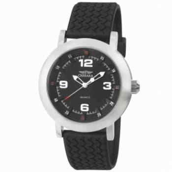 Relógio Masculino Analógico Social Carrara, Pulseira Texturizada Sintética Preta, Caixa de 4,1 Cm, Resistente A Agua 3 ATM -  RR20511T