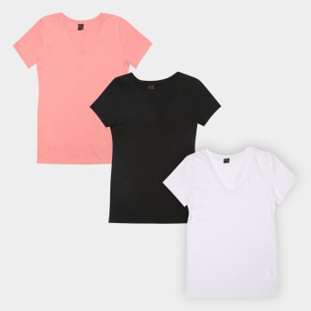 Kit Camiseta Básicos Gola V Lisa C/ 3 Peças Feminina - Preto+Branco