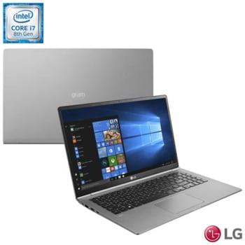 "Notebook LG, Intel® Core™ i7 8550U, 8GB, 256GB, Tela de 15,6"", Titânio, Gram - 15Z980-G.BH72P1"