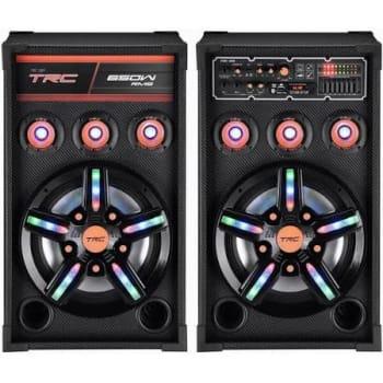 Caixa de Som Amplificada TRC 389 Bluetooth, USB, Entrada para Microfone, Rádio FM e Iluminação 650W