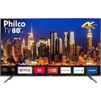 "Smart TV LED 60"" Philco PTV60F90DSWNS Ultra HD 4k com Conversor Digital 3 HDMI 2 USB Wi-Fi Som Surround 60Hz Prata"