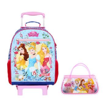 Mochila Escolar com Rodinhas Dermiwil Princesas Disney 52107 Rosa e Azul