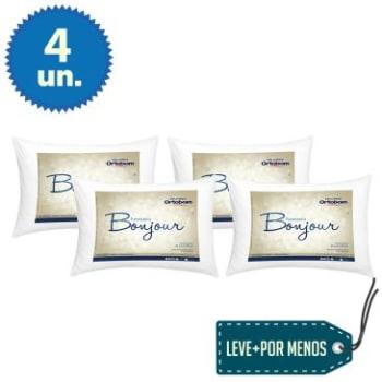 Kit Promocional 4 Travesseiros Bonjour 50x70 cm com Fibra Siliconizada e Revestimento em Toque Peletizado - Ortobom