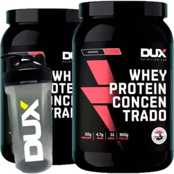 Kit 2x Whey Protein Concentrado 900g + Shaker - Dux Nutrition - Banana/Coco