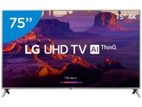 "Smart TV 4K LED 75"" LG 75UK6520 Wi-Fi HDR - Inteligência Artificial Conversor Digital 4 HDMI - Magazine Ofertaesperta"