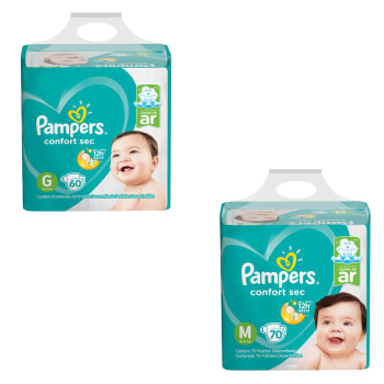 Kit de Fraldas Pampers Confort Sec Super 130 Unidades - 70 M e 60 G