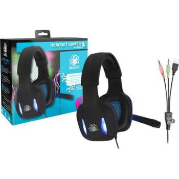 Headset Gamer Preto com Luz de Led Azul NM-2190 - Nemesis