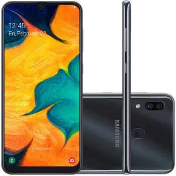 "Smartphone Samsung Galaxy A30 64GB 6.4"" 4GB RAM Câmera Traseira Dupla 16MP 5MP Preto"