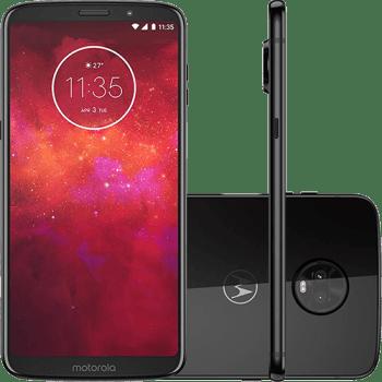 "Smartphone Motorola Moto Z3 Play 128GB Dual Chip Android Oreo - 8.0 Tela 6"" Octa-Core 1.8 GHz 4G Câmera 12 + 5MP (Dual Traseira) - Ônix"