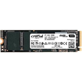 SSD Crucial P1 500GB M.2 2280 NVMe Leitura: 1.900 MB/s Gravação: 950 MB/s - CT500P1SSD8