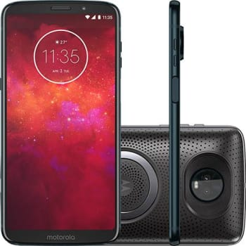"Smartphone Motorola Moto Z3 Play - Stereo Speaker Edition Dual Chip Android Oreo - 8.0 Tela 6"" Octa-Core 1.8 GHz 64GB 4G Câmera 12 + 5MP (Dual Traseir"