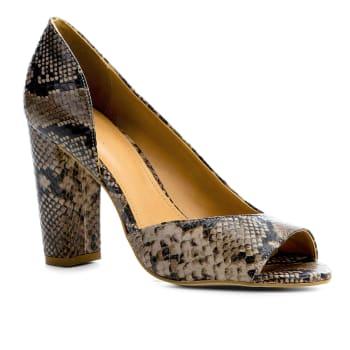 Peep Toe Couro Shoestock Salto Alto Snake - CinzaPeep Toe Couro Shoestock Salto Alto Snake - Cinza