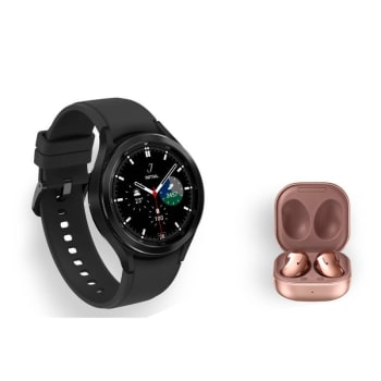 Kit Galaxy Watch4 Classic BT 46mm Preto + Buds Live Intra-Auricular Bronze