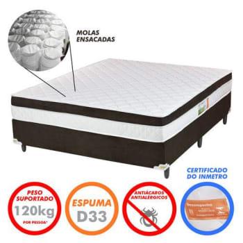 Cama Box Queen Colchão Molas Ensacadas e Pillow Revolution Branco/Marrom 158x198x58 - Rifletti