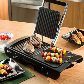 Grill 2 em 1 Fun Kitchen Antiaderente Preto
