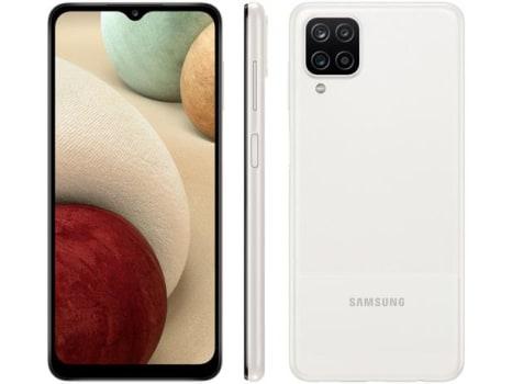 "Smartphone Samsung Galaxy A12 64GB Branco 4G - Octa-Core 4GB RAM 6,5"" Câm. Quádrupla + Selfie 8MP - Magazine Ofertaesperta"