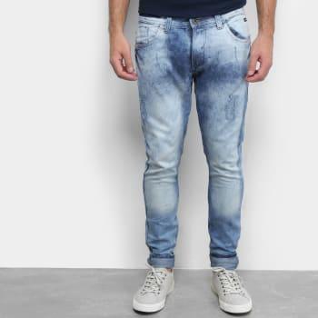Calça Jeans Skinny Fatal Masculino Marmorizada Masculina - AzulCalça Jeans Skinny Fatal Masculino Marmorizada Masculina - Azul