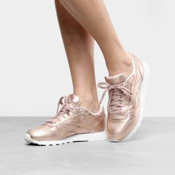 Tênis Reebok Cl Leather L Feminino - Ouro Rosa em Promoção no Oferta ... 90816bfe6cd6d