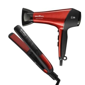 Kit Britânia Com Secador De Cabelo Beauty Duo Red Bsc2900 Com 2 Velocidades E 3 Temperaturas 110v + Prancha Alisadora Bivolt