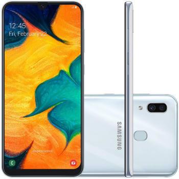 "Smartphone Samsung Galaxy A30 64GB 6.4"" 4GB RAM Câmera Traseira Dupla 16MP 5MP Branco"