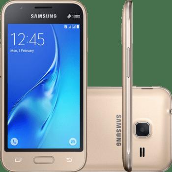 "Smartphone Samsung Galaxy J1 Mini Dual Chip Android 5.1 Tela 4"" 8GB 3G Wi-Fi Câmera 5MP - Dourado (Cód. 125768056)"