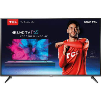 "Smart TV Led 55"" TCL P65us Ultra HD 4k HDR 55p65us Conversor Digital Integrado 3 HDMI 2 USB Wi-Fi integrado Sleep timer"